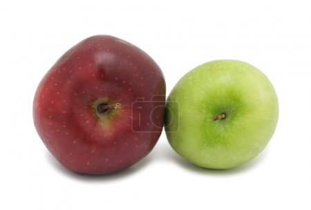 Photo for Red and green ripe apples, isolated on a white background - Royalty Free Image
