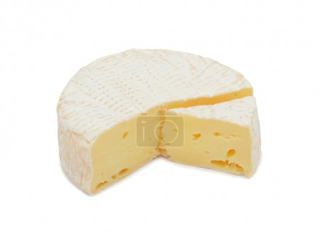 Round Brie cheese, with a section cut out, isolated