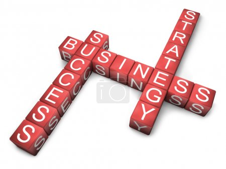 Photo pour Boîtes rouges avec lettres disposées en trois mots - stratégie commerciale et succès, sur fond blanc isolé - image libre de droit