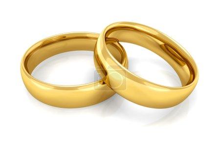 Photo pour Deux anneaux d'or empilés l'un sur l'autre - image libre de droit