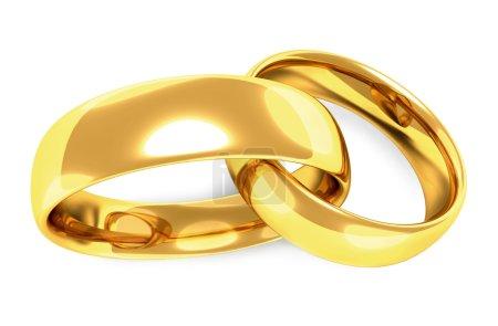 Photo pour Deux anneaux d'or liés entre eux, entrelacés, fond blanc - image libre de droit