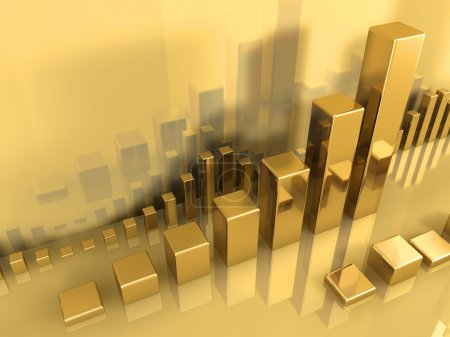 Photo for Large gold chart in the center, next to several smaller ones. All in gold. - Royalty Free Image