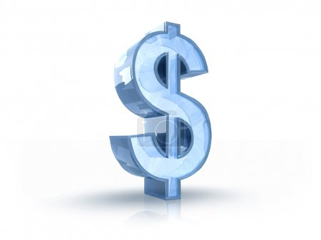 Photo pour Illustration 3D du signe du dollar de glace, isolé sur fond blanc - image libre de droit