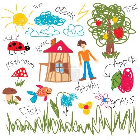 Illustration for Child draw elements, vector illustration - Royalty Free Image