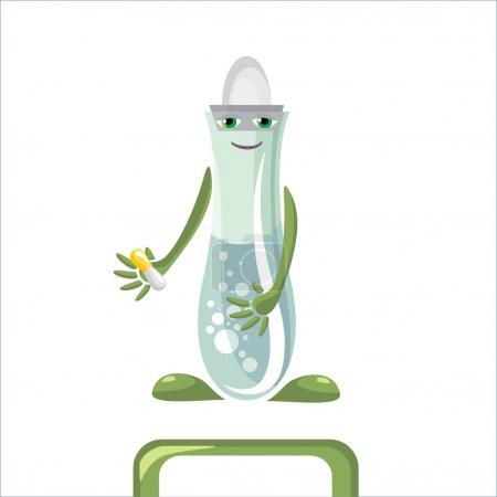 Illustration for Cartoon medical flask vector illustration - Royalty Free Image