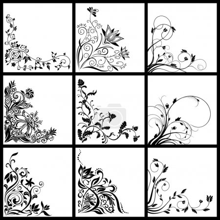 Illustration for Collection of different vector floral illustrations cards - Royalty Free Image
