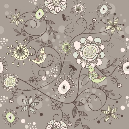 Illustration for Seamless vector floral background with flowers and birds - Royalty Free Image