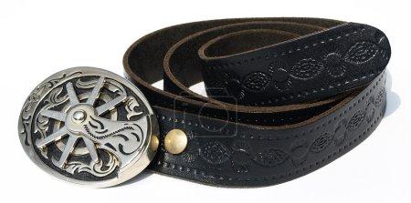 Vintage style cowboy belt with metal spu