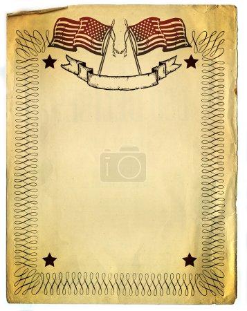 Photo pour Design frontière américaine patriot sur vieux cassé papier - image libre de droit