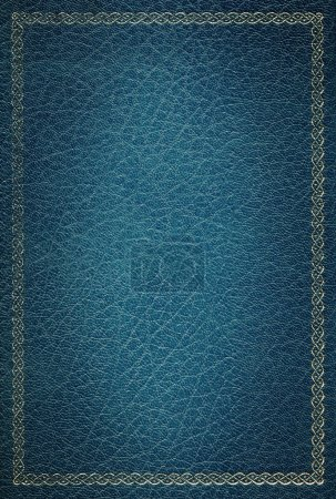 Photo for Old blue leather texture with gold decorative frame - Royalty Free Image