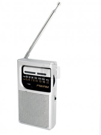 Photo for Old fashioned pocket radio against a white background - Royalty Free Image