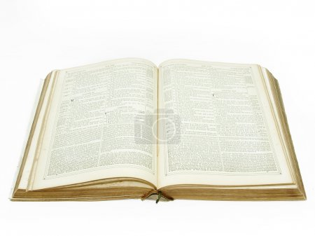 Large vintage open bible detail isolated