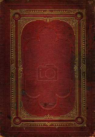 Photo for Old red leather texture with gold decorative frame. Matching texture without frame also available - Royalty Free Image