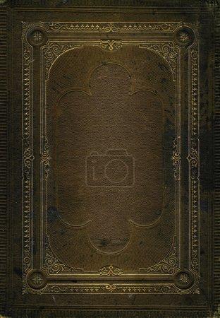 Photo pour Vieille texture en cuir marron avec cadre décoratif doré. Texture assortie sans cadre également disponible - image libre de droit