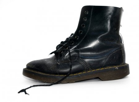 A black worn out work boots