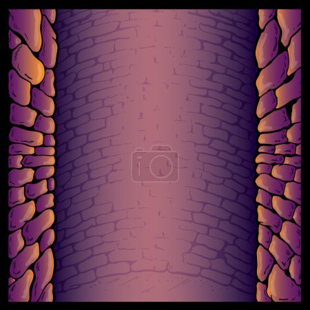 Dungeon stone wall background vector ill