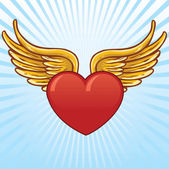 Heart with wings vector illustration All parts are complete and fully editable