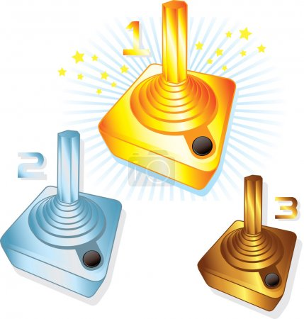 Gold Silver and Bronze gamers joysticks