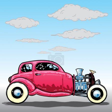 Illustration for Retro style Hotrod car vector illustration. Fully editable - Royalty Free Image