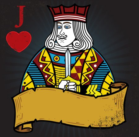 Jack of Hearts with banner tattoo style