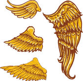 Tattoo style vector wings illustrations