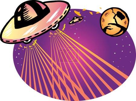 Illustration for Alien spaceship vector illustration background. Fully editable - Royalty Free Image