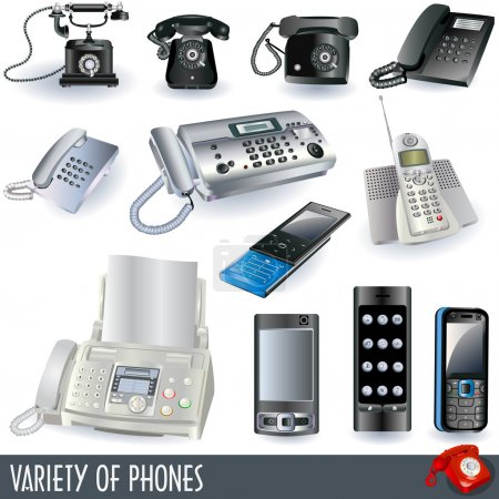 Collection of telephones