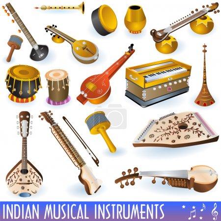 Illustration pour Une collection de différents instruments de musique indiens - image libre de droit