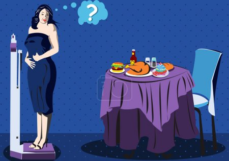 Illustration for Illustration of a women on scale looking back a table full of food. - Royalty Free Image