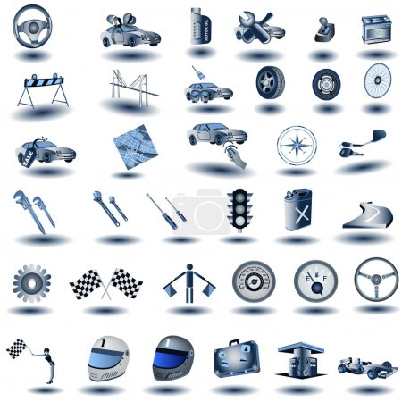 Blue transport icons 2