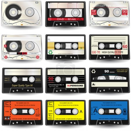 Illustration for 9 high-detailed cassettes, vector illustration. - Royalty Free Image