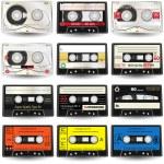 9 high-detailed cassettes, vector illustration....