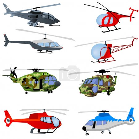 Illustration for 8 different helicopters. - Royalty Free Image