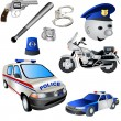 9 colored police icons, vector illustration....