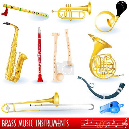 Illustration pour Collection d'instruments de musique en laiton . - image libre de droit
