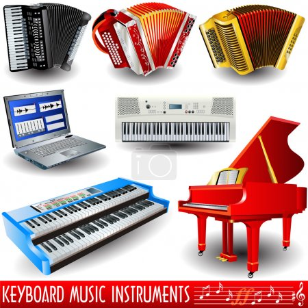 Illustration for Keyboard music icons, realistic vector illustration. - Royalty Free Image