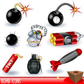 A collection of bomb icons color illustration isolated on white background