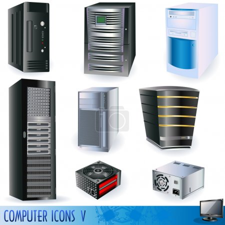 Illustration pour Une collection d'icônes informatiques, de serveurs, de tours et d'alimentations . - image libre de droit