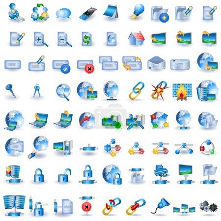 Illustration pour Énorme collection d'icônes réseau bleu clair - image libre de droit