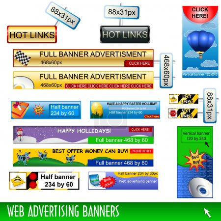 Illustration for Collection of web advertising banners, standard dimensions. - Royalty Free Image
