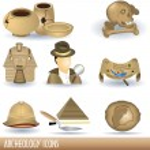 Set of nine archeology color illustrations....