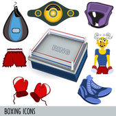 A collection of 8 boxing clip art illustration icons