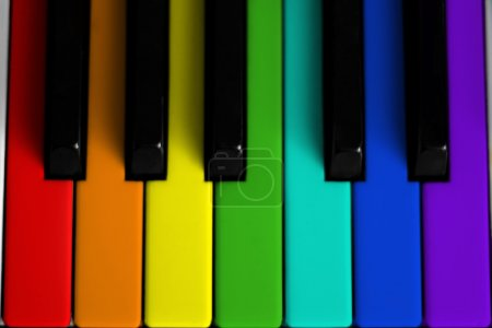 Photo for A rainbow colored piano keyboard - Royalty Free Image