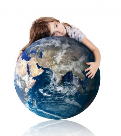 Photo for Little girl hugging the planet earth over a white background - Royalty Free Image