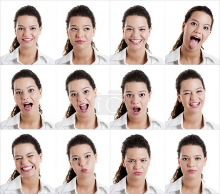Photo for Collage of the same woman making diferent expressions - Royalty Free Image