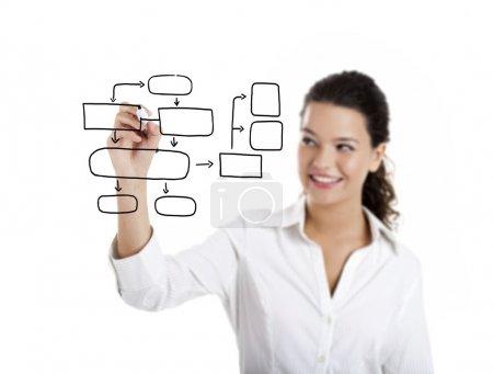 Photo pour Jeune femme d'affaires dessinant un diagramme isolé sur fond blanc - image libre de droit
