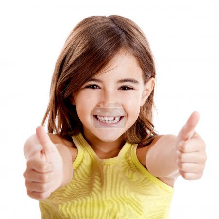 Photo for Portrait of a beautiful and confident girl showing thumbs up isolated one white - Royalty Free Image