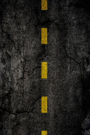Photo for Asphalt background texture with a divided yellow line - Royalty Free Image