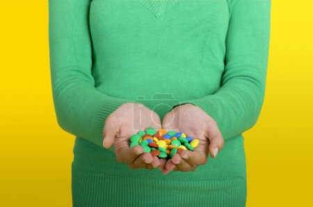 Woman with candys