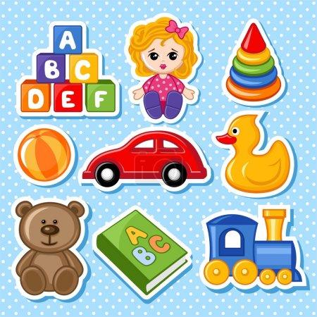 Foto de Un conjunto de ilustraciones vectoriales de juguetes para niños - Imagen libre de derechos